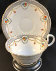 VINTAGE AYNSLEY B255 FLORAL AND SWAG TEA CUP AND SAUCER GOLD TRIM