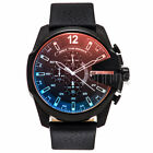 Diesel Authentic Watch DZ4323 Mega Chief Black Leather Strap Chronograph NEW