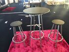 EX Display Shop Floor Model Black and Silver Round Bar Stools and Table Set
