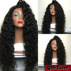 Brazilian Long Black Curly Hair Synthetic Lace Front Wigs Loose Cu