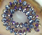 Diy Jewelry 70pc 68mm Faceted Rondelle glass crystal Beads purple AB