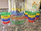 Vintage Glass Pitcher Red-Blue-Green-Yellow Stripe w/ Ice lip-4 Vintage Glasses