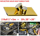 REFLECTIVE GOLD HEAT SHIELD TAPE FOR THERMAL RACING ENGINE 20 x 20 And Gift