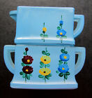 Vintage Mini Stacking Creamer Open Sugar Blue Glass Square Flowers REPAIRED