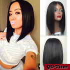 Short Black Bob Style Synthetic Lace Front Wig Japan Fiber Lace Wigs Baby Hair