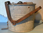 Antique wringer Wheeling Galvanized Mop Bucket Wooden Dowels colllectible
