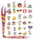 Mickey  Minnie Themed Starter Lanyard Set with 6 Disney Trading Pins NEW