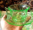 Wow! 17 Pcs Cambridge Green Vaseline Depression Glass Cups Saucers Sugar