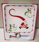 FITZ AND FLOYD MINGLE JINGLE BE MERRY SNACK PLATE WITH SPREADER NIB