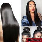 Heat Resistant Fiber Synthetic Lace Wigs Long Black Silky Straight Baby Hair