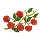 Estate Tomato Pin Italian Made With Fine Gem Natural Coral