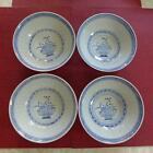 Chinese Translucent Rice Flower Blue White Tienshan Bowls Soup Cereal 4...MINT