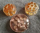 8 Hole Pink Amber Depression Glass? Marble Display