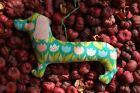 Primitive Easter Spring Tulip Print Dachshund Ornie, Hanging Ornament