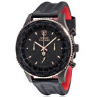 DETOMASO Firenze XXL Mens Watch Chronograph Black Rosegold Stainless Steel New