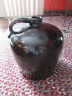 Antique Primitive Brown Glaze Pottery Beehive Moonshine Whiskey Jug Stoneware