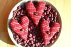 Primitive Valentines Day Dark Red Homespun Plaid Heart Ornies