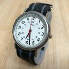 Timex Weekender Indiglo Mens Silver Nylon Analog Quartz Watch Hours~New Battery