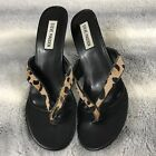 Womens Leapord Print STEVE MADDEN Flip Flop Thong Heel Dress Sandals 9 95