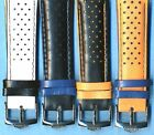 4 Colors 22mm Genuine Perforated Leather Rally Racing Strap & Heuer Buckle TAG