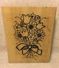 Hooks Lines  Inkers R02 Bouquet Rubber Stamp Flower Rose Tulip Daisy Spring