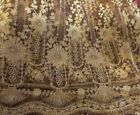 ANTIQUE EDWARDIAN AMAZING TAMBOUR LACE ON SILK NET LONG PANEL YARDAGE