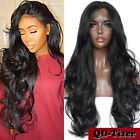 Long Black Wavy Full Wigs Synthetic Lace Front Wig Baby Hair Heat Resistant 24''