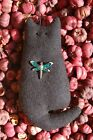 Primitive Spring Summer Wool Cat Ornie w Dragonfly Hanging Ornament