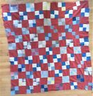 antique QUILT TOP feedsack? red white blue brown 64