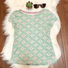 Boden Easy Printed Tee Pink Green Pattern Size 4 Small Spring Womens Shirt Top