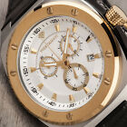 YVES CAMANI QUENTIN Mens Watch Gold Plated Chronograph Leather Strap New