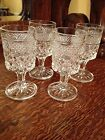 (4) Vintage Crystal Clear Cut Wexford Wine Glasses by Anchor Hocking