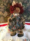 Primitive Grungy Olde Raggedy Annie Doll, Sunflower and baby bunny X Prim