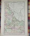 Vintage 1896 ~ IDAHO ~ Map Antique Original Johnsons Boise Ada County MAPZ12