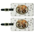 Hunting Dogs Oval Luggage ID Tags Suitcase Carry On Cards Set of 2