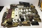 Large Lot Of Antique Door knobs And Parts Glass Metal shafts salvage vintage