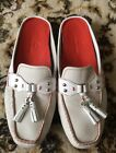 COLE HAAN WHITE LEATHER Moccasins Slides Mules w/Tassels Loafer Shoes 9.5B