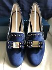 NIB AUTH COLE HAAN WOMENS TALI BLUE VELVET BOW STUDDED LOAFER SZ 9M  W09916