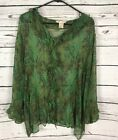 Woman Within Semi Sheer Blouse 3X Plus Size Dark Green Floral 100 Silk Shirt