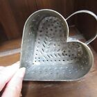 vintage punched tin heart mold cheese strainer