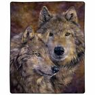 Lavish Home Heavy Fleece Blanket with Pair of Wolves Pattern 74