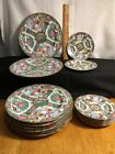 16 Vintage Asian Porcelain Rose Medallion Dinner Plates And Small Marked Lot