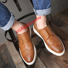 Mens Pu Leather Leisure Brogue Tip Lace Up Dress Formal Sneakers Shoes Oxfords