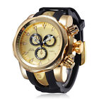 Shhors Big Dial Men Casual Quartz Watch Silicone Watches Gold Male Wristwatch