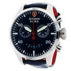 DETOMASO ROMA Mens Wrist Watch Chronograph Stainless Steel Blue Leather N