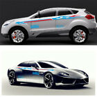 2 Pcs Car Waterproof Vinyl Both Body Sides Decal Stickers Stripe Flame Pattern