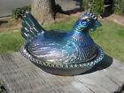 Vintage Indiana Blue Carnival Glass Hen on a Nest Chicken Covered Dish Beaded