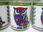 Set 7 Cora Owl Drinking Glasses Mid Century Modern Cocktail Bar