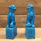 PAIR OF CHINESE TURQUOISE BLUE GLAZE FOO DOG FIGURINE TEMPLE LIONS STATUES