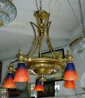 NICE FRENCH 1920 BRONZE AND SHADES TULIP SIGNED SCHNEIDER FRANCE CHANDELIER